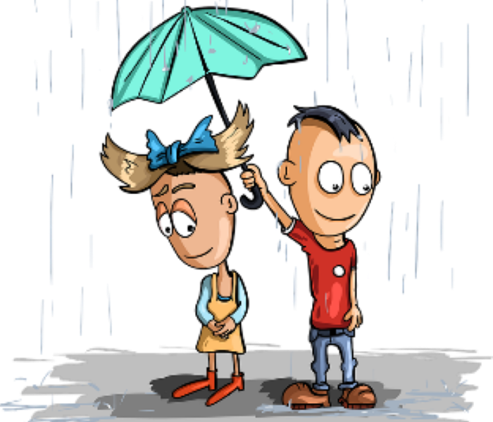 Cartoon of two young children standing under an umbrella during a rain storm