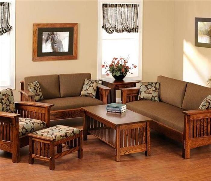 image of living room with all wooden furniture