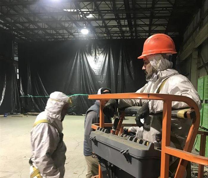 image of SERVPRO workers in a commercial fire job